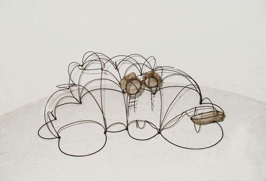 Isabelle Bonte, filaire de nuage + barque + 2 aires