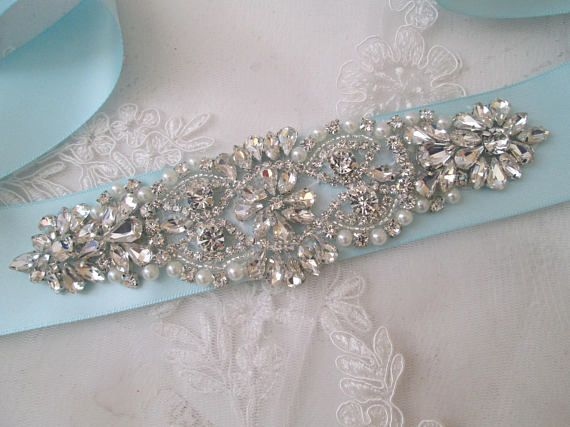 Light Teal, Light Aqua Blue Bridal Sash, Crystal Pearl Wedding Belt, Rhinestone- Diamond Sash, Something Blue, Tiffany Blue Sash Belt