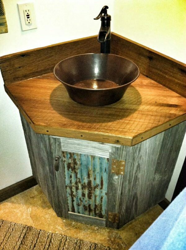 Reclaimed Barnwood And Tin Roofing Bathroom Sink Remodel
