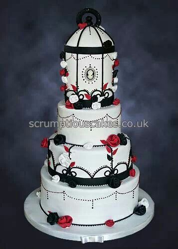 Black, white & red Bird cage Cake Art