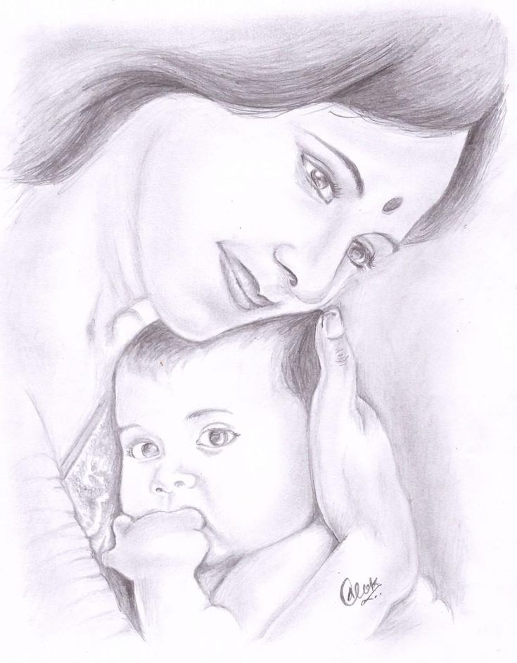 Mother's Love - Sketching by Alok Kumar in My Sketches at touchtalent 43532