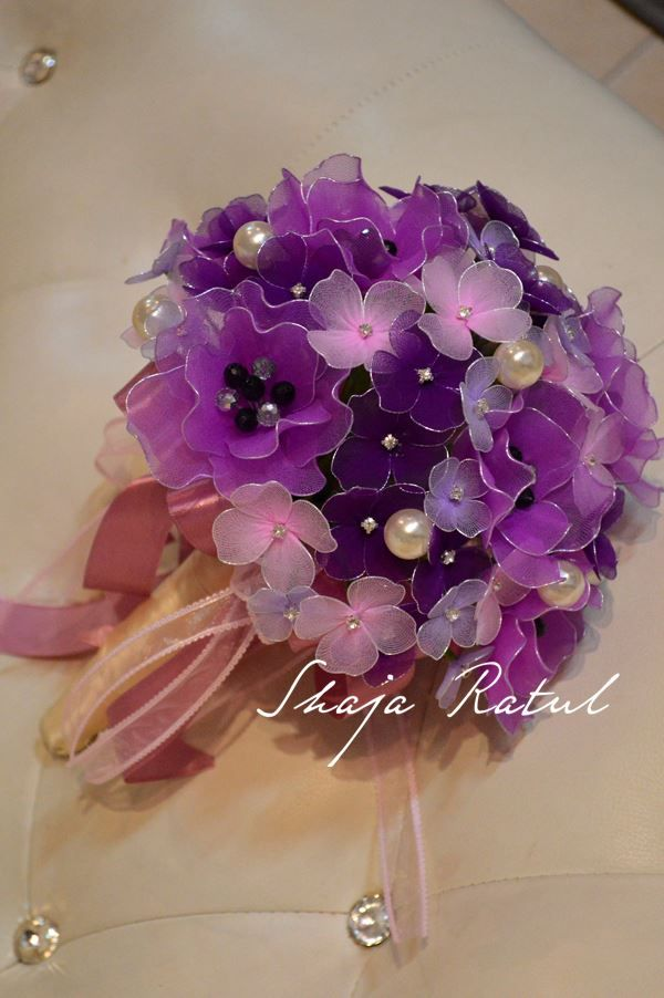 Hand made hand bouquet from nylon flower