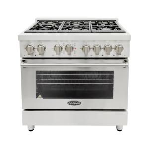 Cosmo 36 in. 4.5 cu. ft. Single Oven Dual Fuel Range with 6 Italian Gas Burners and Convection Oven in Stainless Steel COS-DFR366 at The Home Depot - Mobile