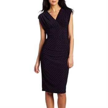 Evan Picone Women's Navy and Red Dotted Jersey Dress