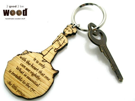 The little prince quote / Le petit prince quote personalized laser cut engraved wooden keychain / keyring