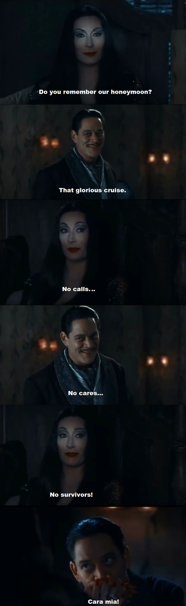 Gomez and Morticia Addams honeymoon cruise