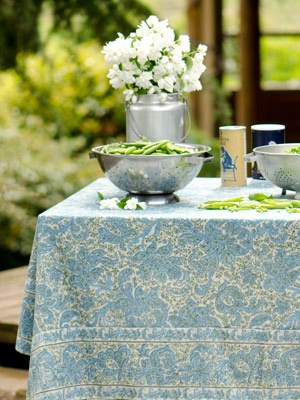 April Cornell Porcelain Paisley Tablecloth