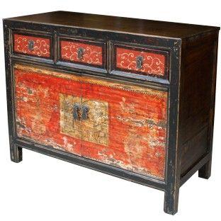 Original Mongolian Painted Sideboard D Dimension 104 W