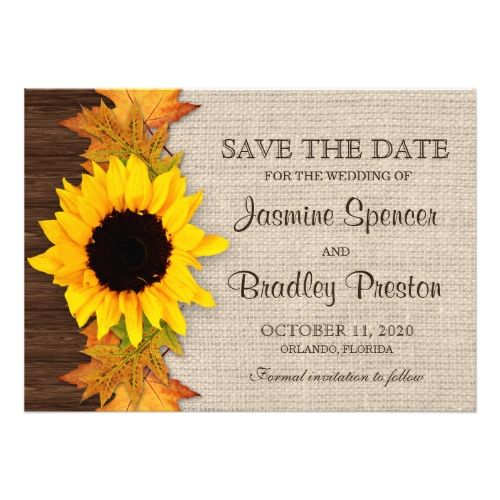 Fall Wedding Invitations Rustic Fall Sunflower Wedding Save The Date Cards