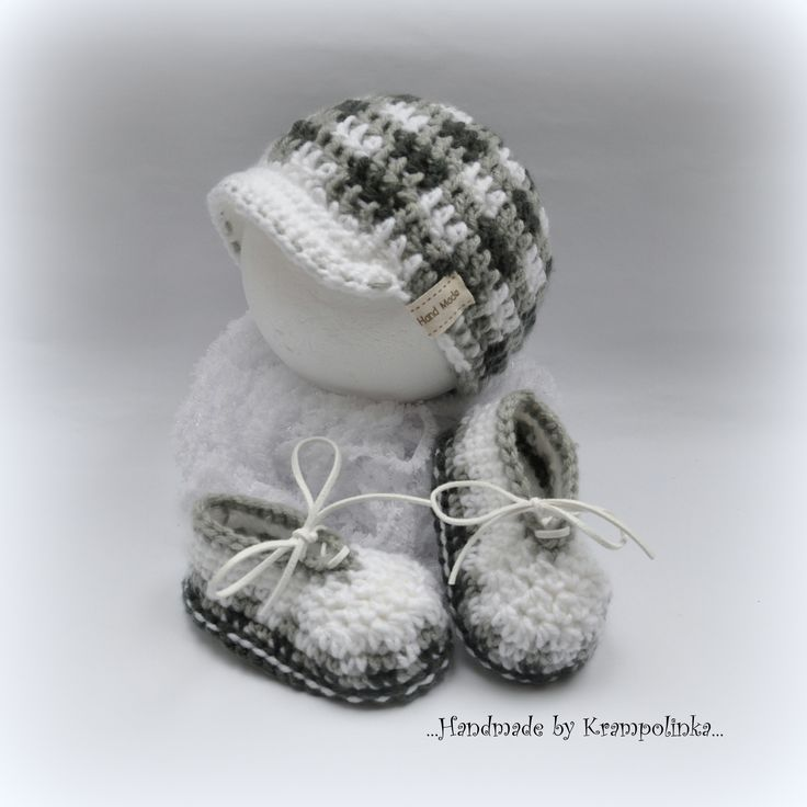 Crochet plaid baby cap hat and plaid booties