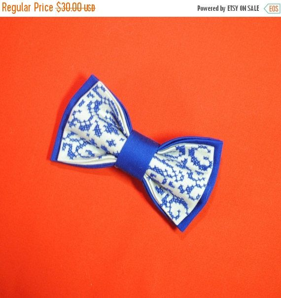 #Embroidered bowtie. Great gift for him ❘❘❙❙❚❚ ON SALE ❚❚❙❙❘❘   Embroidered Electric blue bow tie Well to coordinate with stuff in Sapphire Arctic colors Winter wedding Men's bowties Boys Wedding bow tie  Colou... #bowtie #embroidered