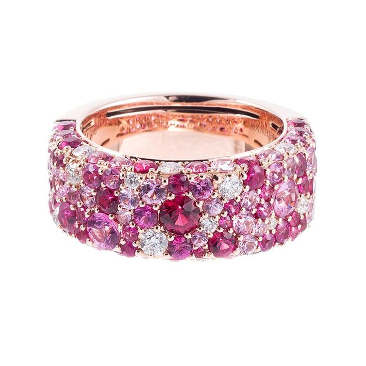 Contemporary Speckled Pink Sapphire Diamond Band 18k rose gold ring, set with a speckled design of brilliant round white diamonds and multiple shades of pink sapphires. In total, there are 4.57 carats of sapphires and .42 carats of diamonds.