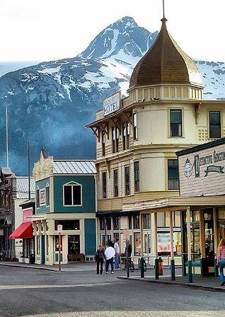 The scenic town of Skagway was founded during the Klondike Gold Rush in the 1890's. Skagway was the starting point for prospectors going to look for gold in the Yukon. Visitors can go back in time to the days of the Gold Rush as they stroll through downtown Skagway, viewing many restored historical buildings.