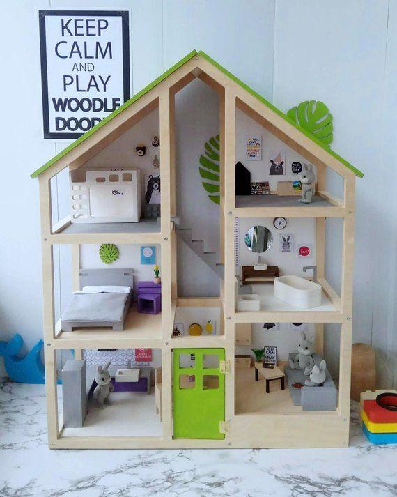 A Large Three Story Modern Doll House Doll House Plans Diy Playroom Wooden Dollhouse
