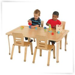 ECR4KIDS Rectangular Bentwood Play Table