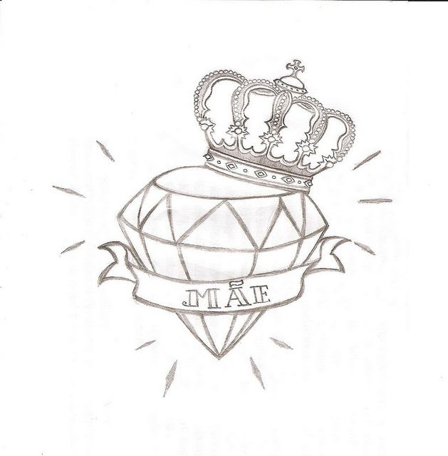 diamond-n-crown-tattoo-drawing.jpg (629×640) | Tattoo ...