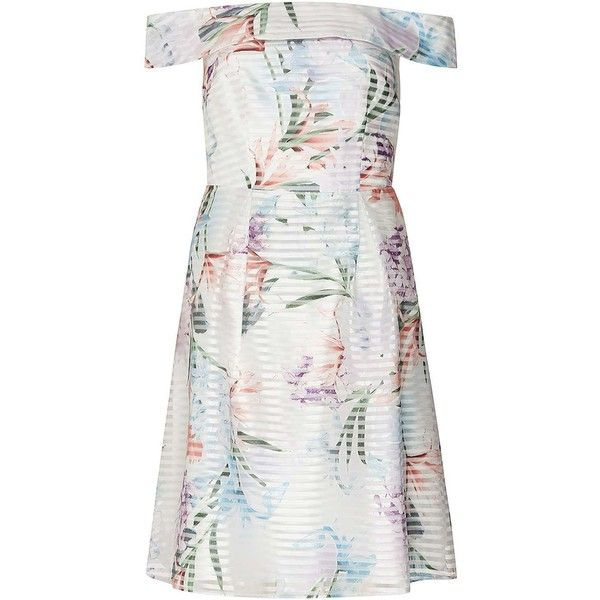 Dorothy Perkins Petite White Floral Bardot Prom Dress ($89) ❤ liked on Polyvore featuring dresses, petite, white, sleeved dresses, long-sleeve floral dresses, white floral dress, petite prom dresses and floral print prom dresses