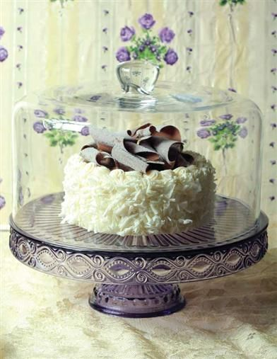 """Also known as """"WINKING EYE"""" by Dalzell, Gilmore & Leighton glassmakers, this beloved pattern endures. Scratch layer cakes and tortes will remain moist for days within an elegant display. 11"""" dia. 4"""" tall. Glass dome sold separately. VTC Exclusive! $39.95"""