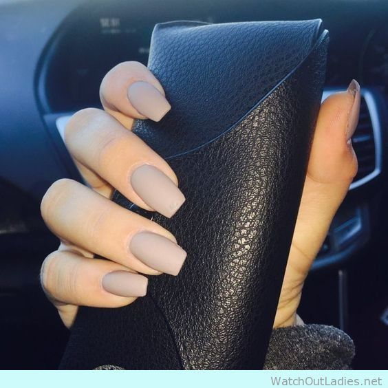 Acrylic coffin nail design in taupe | Beauty | Pinterest ...