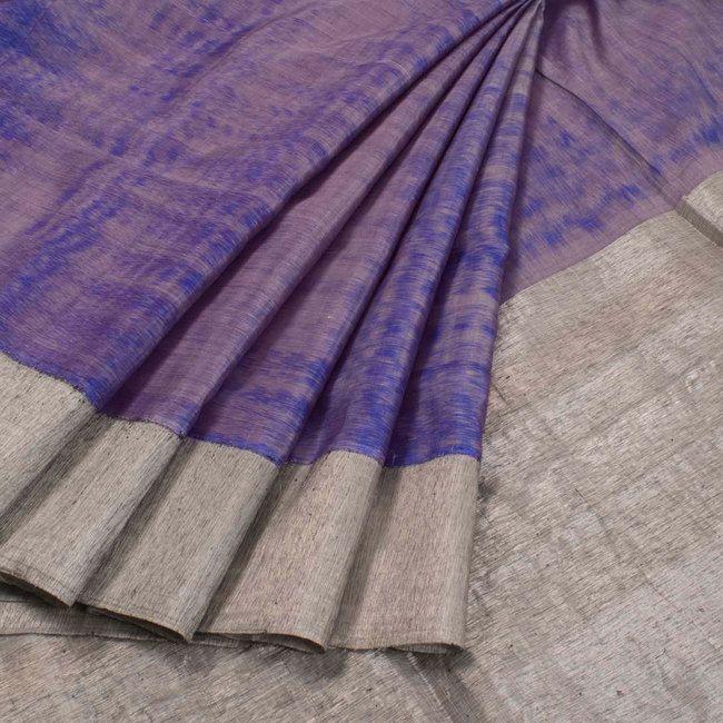 Handwoven Ikat Gadwal Kuttu Silk Saree With Silver Zari Border & Pallu 10020728 - AVISHYA.COM