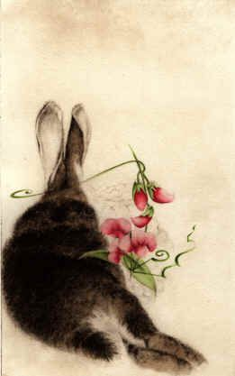 Rabbit with Sweet Peas by C. C. Barton.
