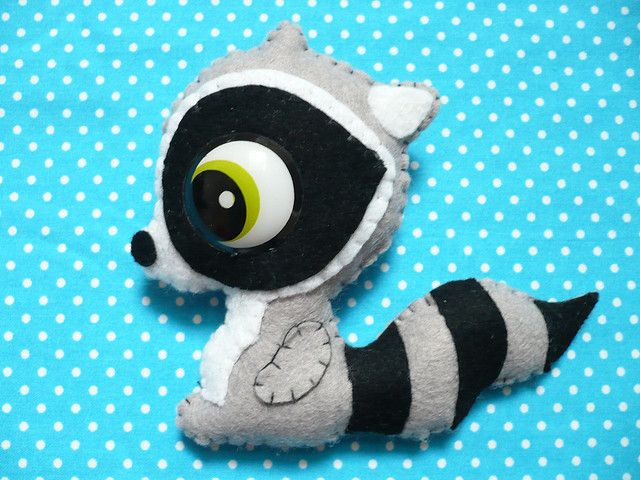 Handmade Brooch pin Raccoon grey blach retro eye by Lovely Mariquita - Handmade Fluffy Accessories, via Flickr