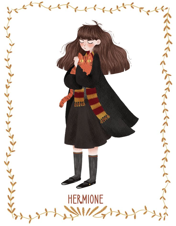 Crookshanks is *my* kitty, okay?! Hermione Granger from #harrypotter #art by Silvia Brunetti