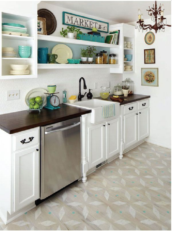 Love the pops of blue on the shelving!
