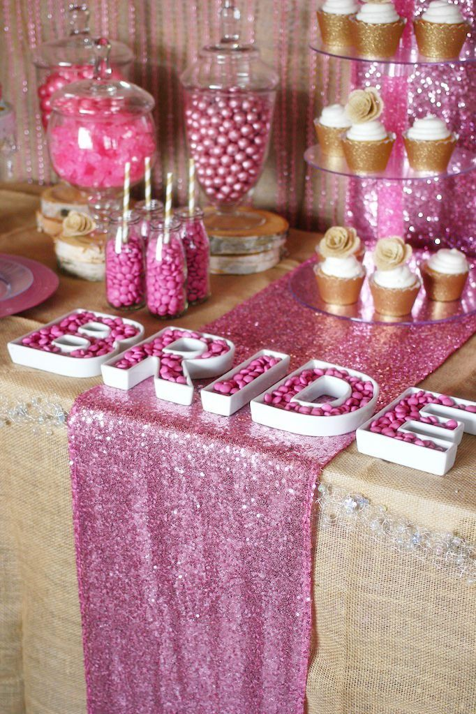 Rustic Glam sweets table designed by http://Soiree-EventDesign.com for Koyal Wholesale pink-sequin-runner