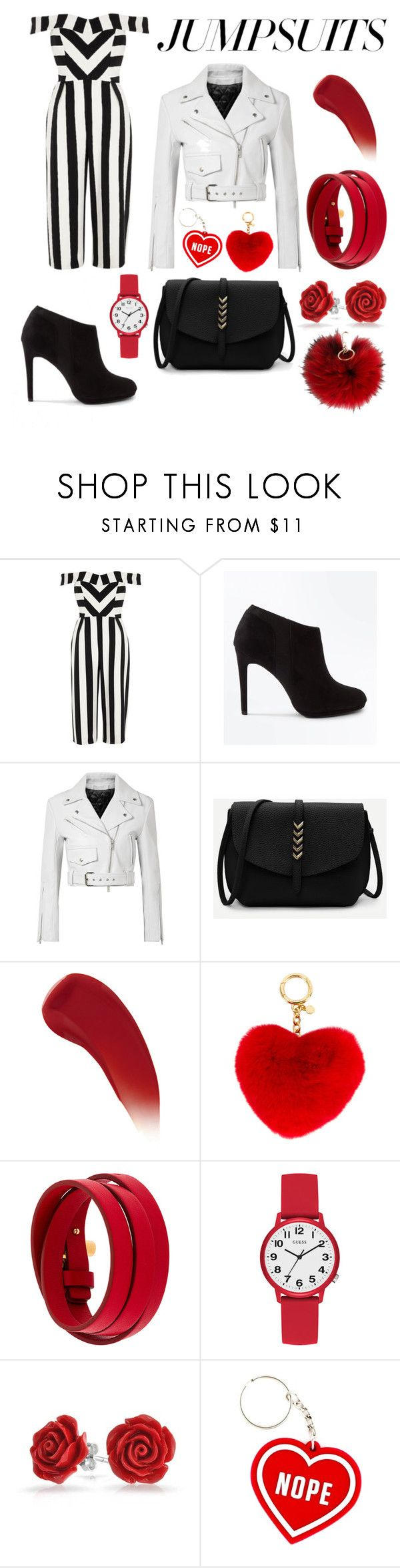 """""""Black, White and Red"""" by gmonster12 ❤ liked on Polyvore featuring River Island, New Look, Calvin Klein 205W39NYC, Lipstick Queen, MICHAEL Michael Kors, Tom Ford, GUESS, Bling Jewelry, Furla and jumpsuits"""