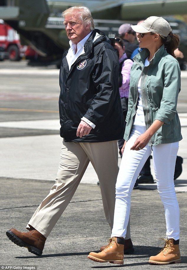 Change: Melania Trump donned Timberland boots and white jeans during her visit in Puerto R...