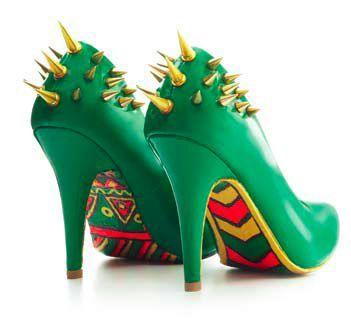 green DIY spiked heels, the ultimate pumped-up kicks