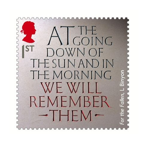Lettercutter Gary Breeze creates a stamp for the First World War centenary which includes lines from the poem 'For The Fallen' by Lawrence Binyon