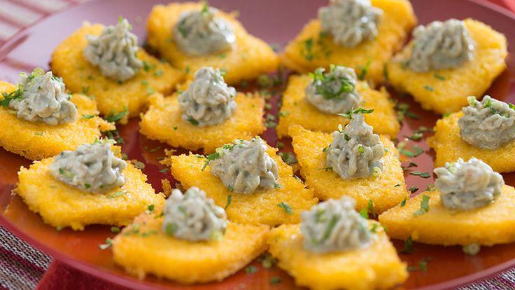 Canapés de Polenta com Gorgonzola - A Vida é Mais Gostosa Com Yoki