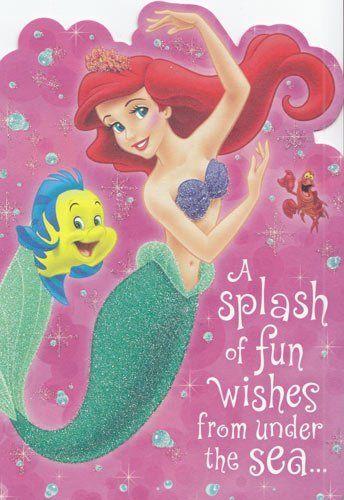 "Greeting Card Birthday Little Mermaid ""A Splash Of Fun"