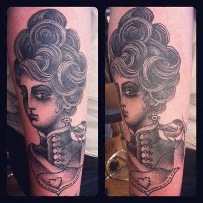 Incredible victorian girl.. Tattooed by Sarah Schor on tattooer Jenn Small. Awesome