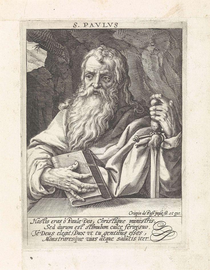 Crispijn van de Passe (I) | Apostel Paulus, Crispijn van de Passe (I), 1574 - 1637 | De apostel Paulus met zijn attribuut het zwaard. In de marge een vierregelig onderschrift in het Latijn. Pendant van een prent van de apostel Petrus.