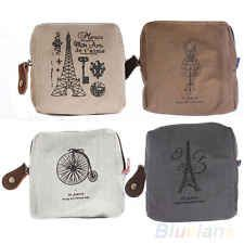 Classic Retro Canvas Tower Purse Wallet Card Key Coin Bag Zipper Pouch Holder