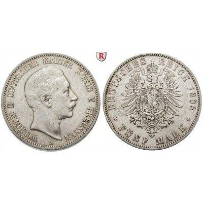 Deutsches Kaiserreich, Preussen, Wilhelm II., 5 Mark 1888, A, ss, J. 101: Wilhelm II. 1888-1918. 5 Mark 1888 A. J. 101; sehr schön,… #coins