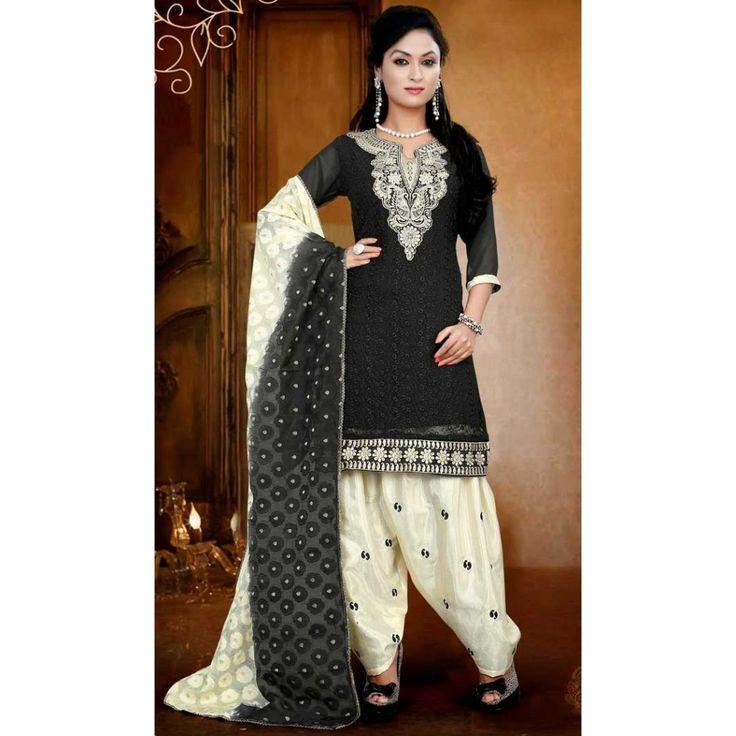 Lush Black Faux Georgette Panjabi Dresses
