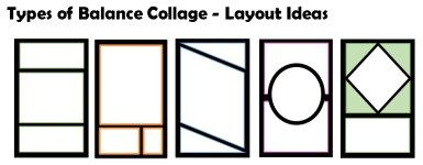 """Create a cut-paper collage that clearly demonstrates the 3 main types of balance: Symmetrical, Asymmetrical, & Radial. Design 3 separate, but unified non-objective compositions using each type of balance, cut individual shapes out of colored paper, and glue them onto ONE sheet of 12×18"""" black paper. Include a ½"""" boarder around all sides of your designs-you will have to figure out the dimensions in your sketchbook!  Your collage should only include lines, shapes & colors- NON-OBJECTIVE…"""