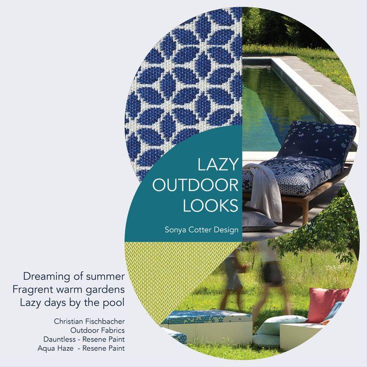 LAZY OUTDOOR LOOKS                                  Christian Fischbacher  Outdoor Fabrics Dauntless - Resene Paint Aqua Haze  - Resene Paint