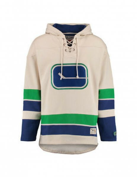 f8e49de0fc8 Men s Vancouver Canucks Old Time Hockey Tan Lacer Heavyweight Pullover  Hoodie