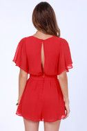 A stealthy choice for any hot babe, the Sly Fox Red Romper will knock their socks off! Fluttery red chiffon flows into angelic cape sleeves while a steamy back keyhole travels from buttoned neckline to fitted waistband. Pocketed shorts hang loose and lovely with a few well-placed pleats along the waist. Hidden back zipper. Body of romper is lined. Model is wearing a size small. 100% Polyester. Hand Wash Cold or Dry Clean.