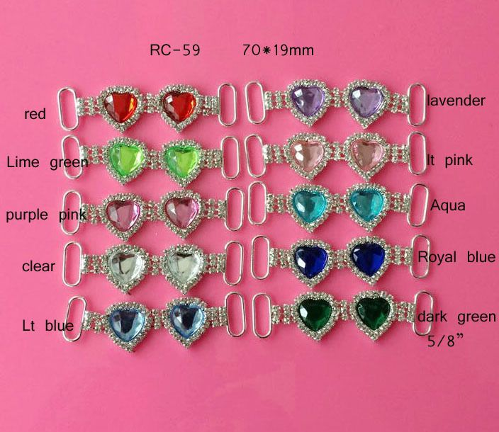 Free shipping heart rhinestone connector 20PCS can choose colors  (RC-59)