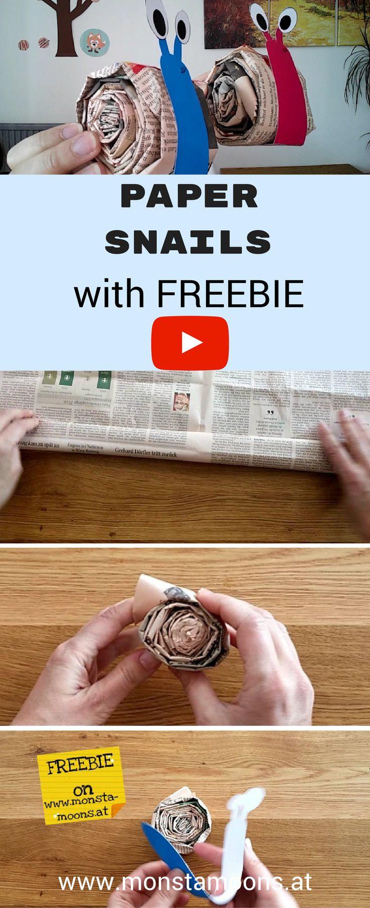 Schnecken aus Zeitungspapier, newspaper snails with Freebie, Schnecken basteln, … – ♥ Mama Kreativ ♥  Mamablog – DIY, Basteln, Kochen und Leben mit Kindern