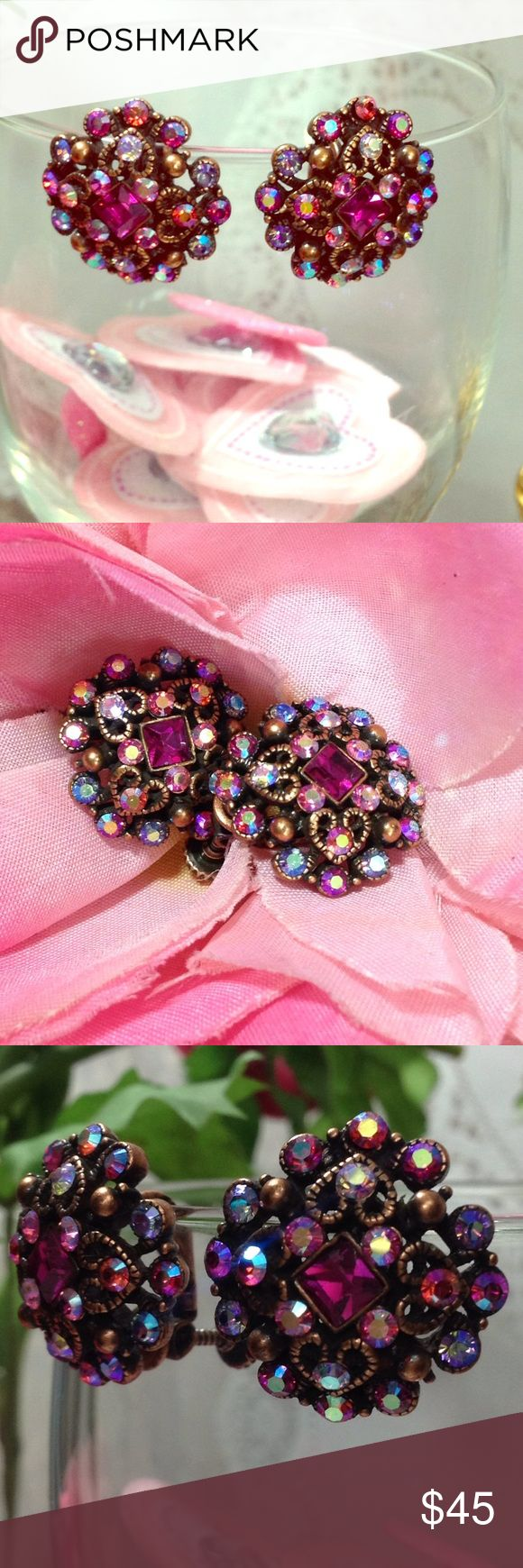 """Joan River💞Pink Cluster💞Screw Back Earrings How Gorgeous are these really?!? I almost don't even want to part with them they are so so """"GORG"""" Perfect for Prom, Beauty Pageant, Brides Maid, Girlfriend, Wife or Yourself!   These earring's are Joan River's personal collection line and are extremely rare! Made up of beautifully stunning Swarovski crystals in every girly shade of sparkly pinks and purples. Each earring is engraved Joan River's! Price is firm!  I'd rather keep them then sell…"""