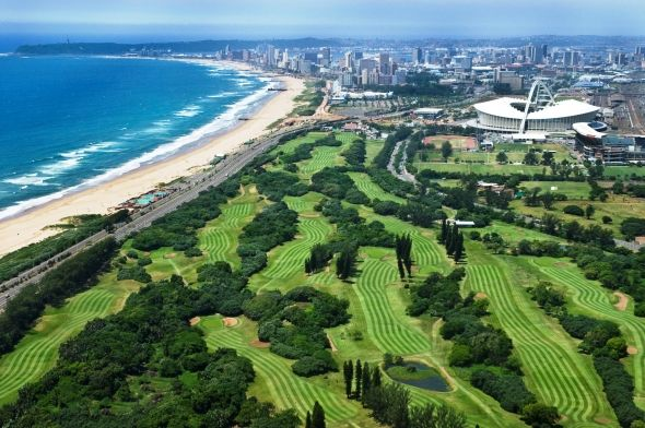 Durban Country Club overlooked by the majestic Moses Mabhida Stadium