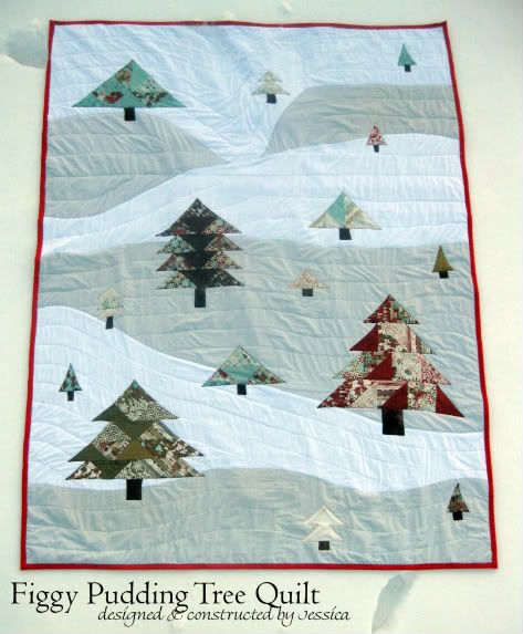 Figgy Pudding (Basic Grey Moda fabric line) Christmas Tree Applique quilt