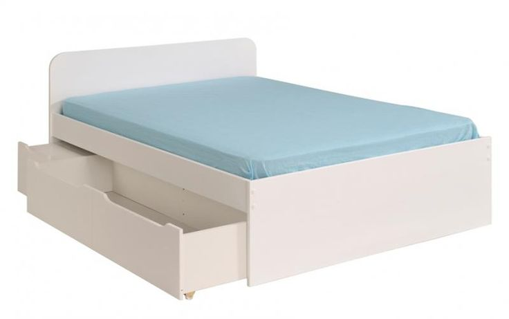 White lacquer double bed with storage and integral bedside table